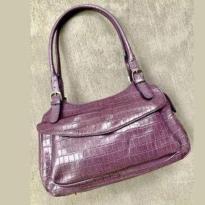 MAXX New York Croco Embossed Leather Satchel